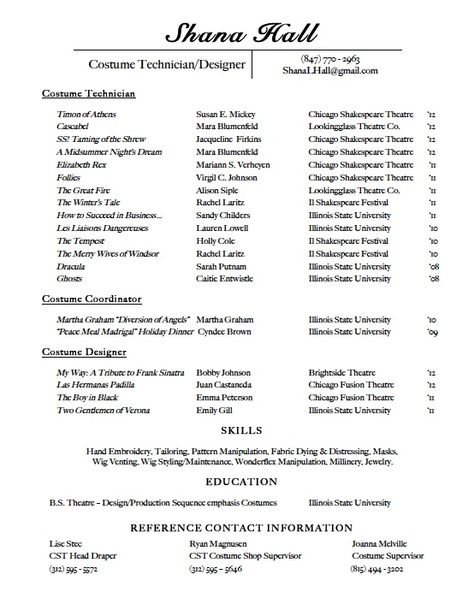 Costume Resume Free Resume Cv 101 Before After Pinterest   Costume Designer  Resume  Costume Designer Resume