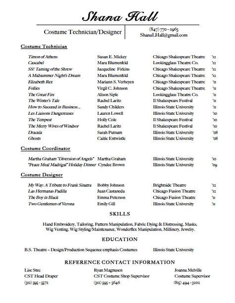 Costume Resume Free Resume Cv 101 Before After Pinterest   Costume Designer  Resume  Underwriting Assistant Resume