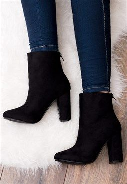 aac37c7f6f4ee DAIZE Zip Block Heel Ankle Boots Shoes - Black Suede Style | shoes ...