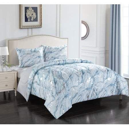 Your Zone Metallic Marble Comforter Set Walmart Com Marble Comforter Comforter Sets Bedding Sets