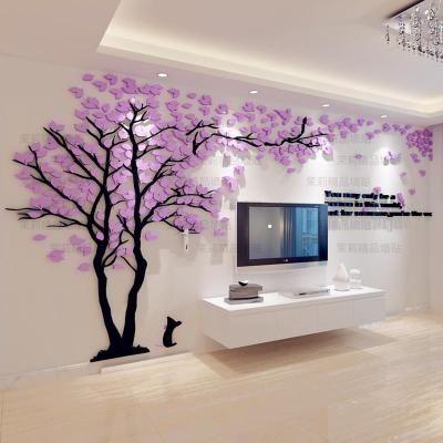 Creative Tree 3d Stereo Acrylic Wall Sticker Living Room Sofa Tv