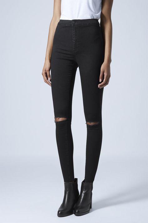 Photo 2 of MOTO Black Ripped Joni Jeans