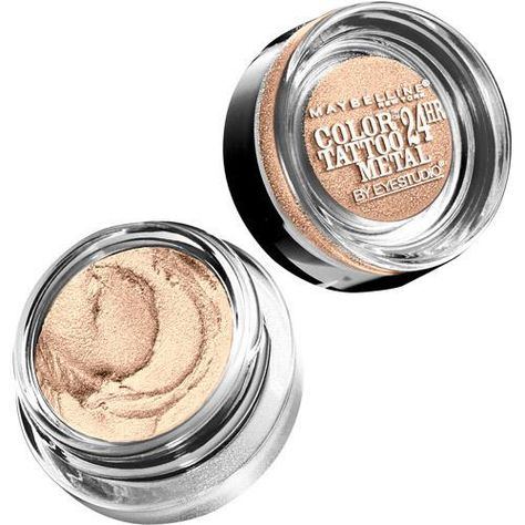 Maybelline Eye Studio Color Tattoo 24hr Cream Eye Shadow in 'Barely Branded' ~ 1/3 price makeup dupe of best selling MAC Paint Pot in 'Bare Study'