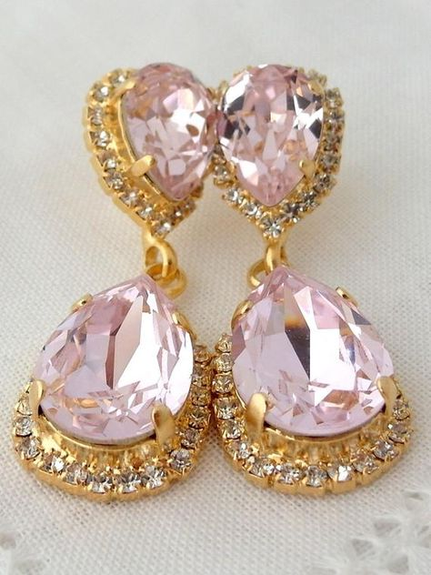 #weddings #jewelry #earrings #bridesmaidgift #swarovskiearrings #chandelierearrings #statementearrings #dangleearrings #vintageearrings #dropearrings #crystalearrings #blushpink #blushearrings #brightpinkearrings #pinkearrings