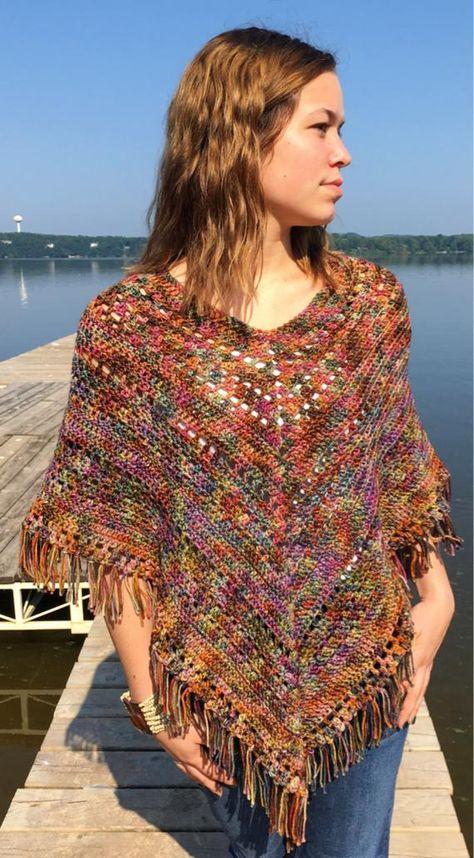 Colorful Boho Poncho Crochet PATTERN Easy Hippie Poncho | Etsy