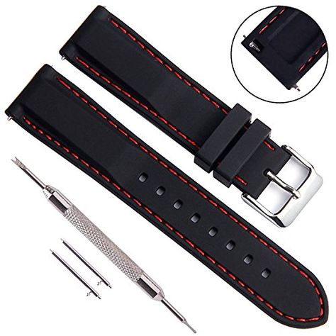 580fec0c229 Quick Release Silicone Replacement Watch Band Soft Rubber Watch Straps with  Stainless Metal Clasp Choice of Color   Width (22mm
