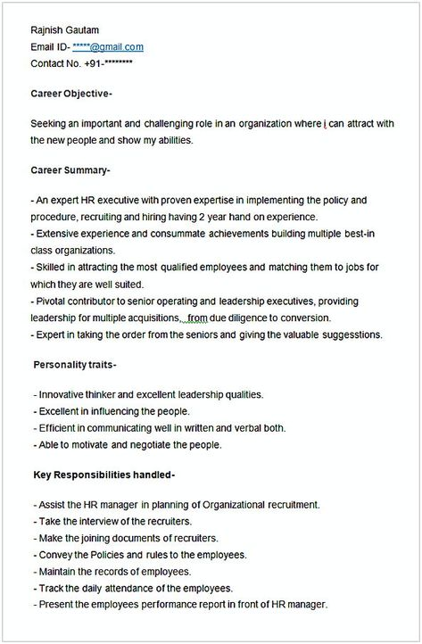 Sample Resume For HR Executive , HR Manager Resume Sample , This - hr resume sample
