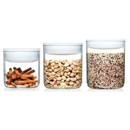 Howards Storage World Click Clack Pantry Round Canister 3 Piece
