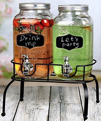 Details About Double Gl Drink Dispenser With Chalkboard