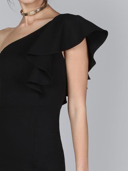 2a116f3b34d Floerns Women s Ruffle One Shoulder Split Midi Party Bodycon Dress - Midi  Lengths Dresses. One Shoulder Frill Peplum Hem Dress - Anabella s