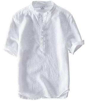 utcoco Mens Retro Chinese Style Short Sleeve Linen Henley Shirts