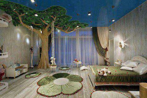 I would love this as a nursery. I think I'd put a rocker/glider under the tree and string some lights through the tree for when you only want a warm glow in the room.