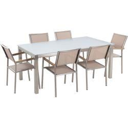 Gartenmobel Set Glasplatte Weiss 180 X 90 Cm 6 Sitzer Stuhle Textilbespannung Beige Grosseto Beliani Gartenmobel Gartenmobel Sets Und Natursteine
