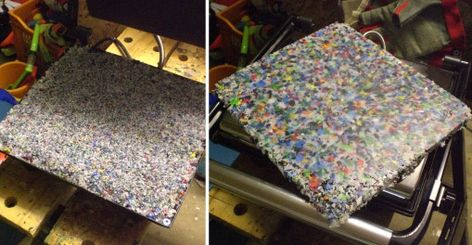 Make beautiful sheets of recycled HDPE plastic bottles and caps -- grind them up and then melt in a sandwich press. You can cut the sheets for different craft applications, they're strong and flexible, and you can even form them into bowls while warm!