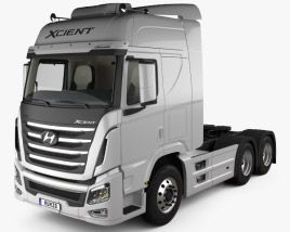3d Model Of Hyundai Xcient P520 Tractor Truck With Hq Interior 2013 Trucks Hyundai Tractors