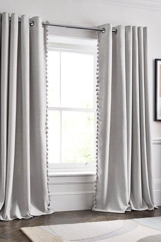 Grey Tassel Edge Eyelet Curtains Curtains With Blinds Grey Curtains Grey Curtains Bedroom