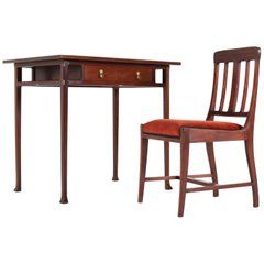 Dutch Mahogany Art Nouveau Writing Table And Chair By Karel