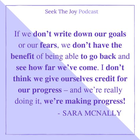 We love this quote from Sara's guest appearance on Seek the Joy Podcast. 💜 To listen to more of her podcast episodes, check out our press page!