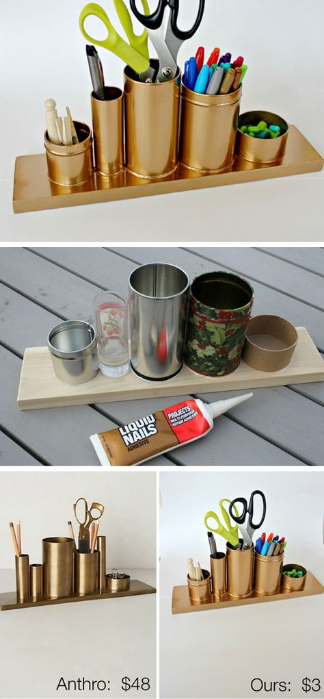 Anthro Inspired Gold Pencil Holder   32 DIY Storage Ideas for Small Spaces   DIY Organization Ideas for Small Spaces