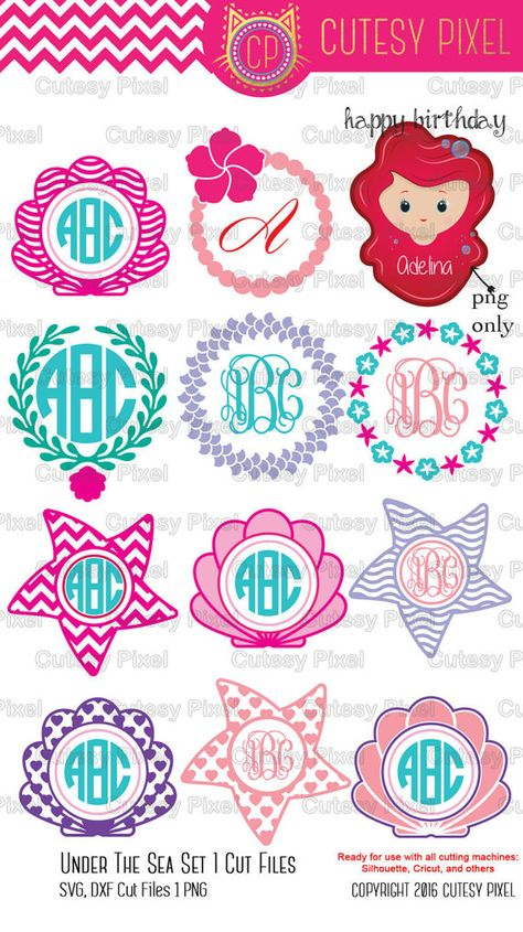 Mermaid designs SVG Cut Files for Vinyl Cutters,mermaid svg, shells svg, Screen Printing, Cricut and Die Cut Machines, Silhouettes, SVG, DXF