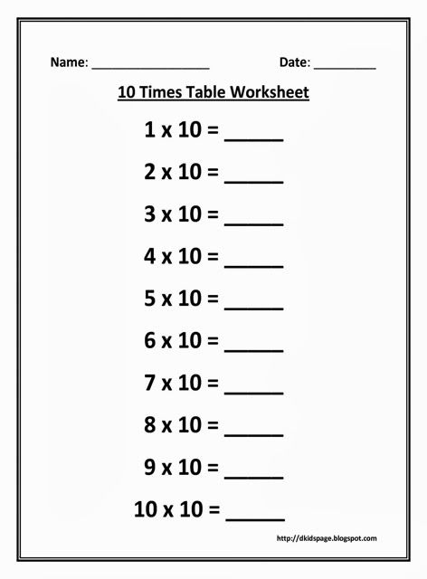 10 Times Multiplication Table Worksheet   for my kids ...