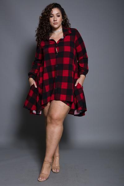 8b40aa817f5404 Plus Size High-low Flannel Dress #plussize #plussizewomen | Fashion ...