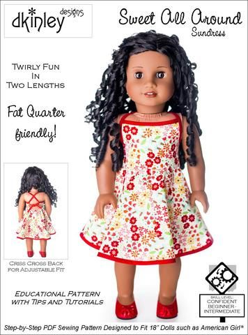 db90ded9b Dkinley Designs Sweet All Around Sundress Doll Clothes Pattern 18 inch  Dolls | Pixie Faire