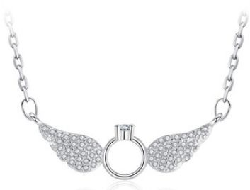 Necklace For Women In Silver Wings And Crown Of Angels Womens Necklaces Silver Wings Necklace