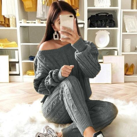 Womens Cable Knitted Off Shoulder Top Bottoms 2PCS Suit Loungewear Tracksuit Set