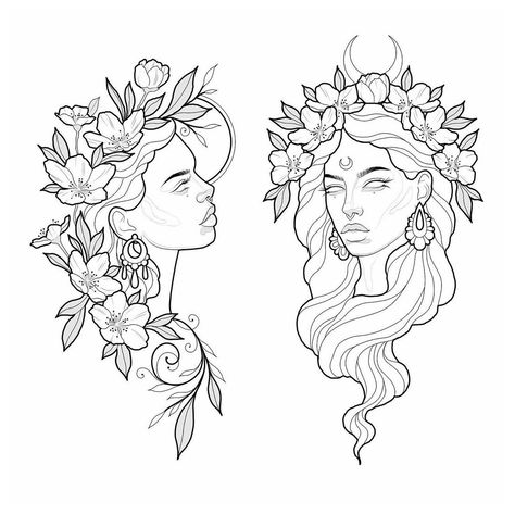 Tattoo Design Drawings, Pencil Art Drawings, Tattoo Sketches, Art Sketches, Tattoo Outline Drawing, Moon Tattoo Designs, Face Tattoos For Women, Mujeres Tattoo, Wiccan Tattoos