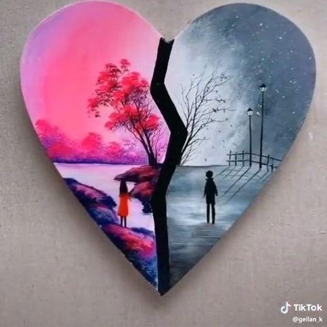 DIY Heart Landscape Painting,  #DIY #heart #Landscape #Painting #WatercolorPaintingdiy