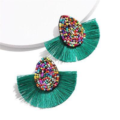 Statement Bohemian Beaded Tassel Earrings