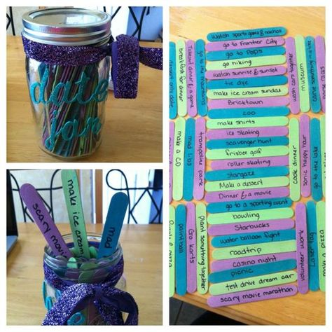 My date jar I made from here Glass jar painted popsicle sticks and A LOT of date ideas
