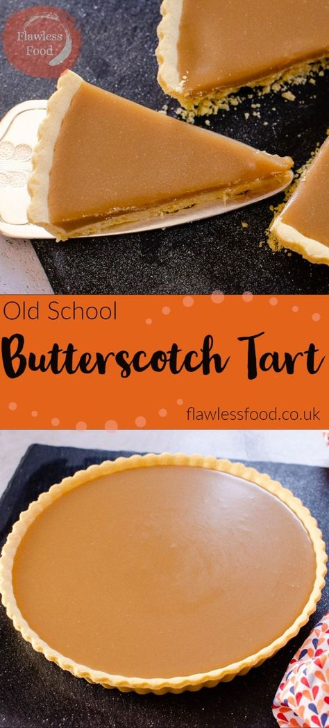 Who remembers this delicious Old School Butterscotch tart?! I have fond memories of this fantastic rich sticky, butterscotch tart. Usually served up with whipped cream or custard in the school canteen! This classic school dessert is surprisingly easy and quick to make, follow along with our recipe. #butterscotch #dessert #schoolrecipe