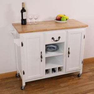 Basicwise White Large Wooden Kitchen Island Trolley With