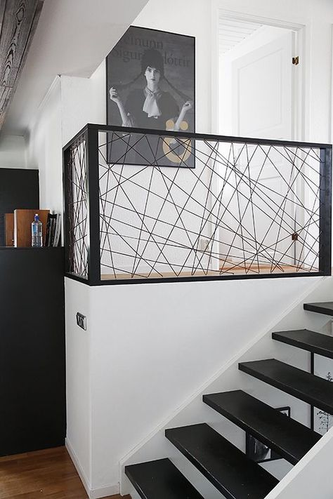 stairs to loft - steel frame with wire or dyed string to open up smaller homes/lofts