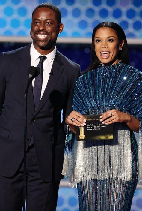 Sterling K. Brown and Susan Kelechi Watson at Golden Globes