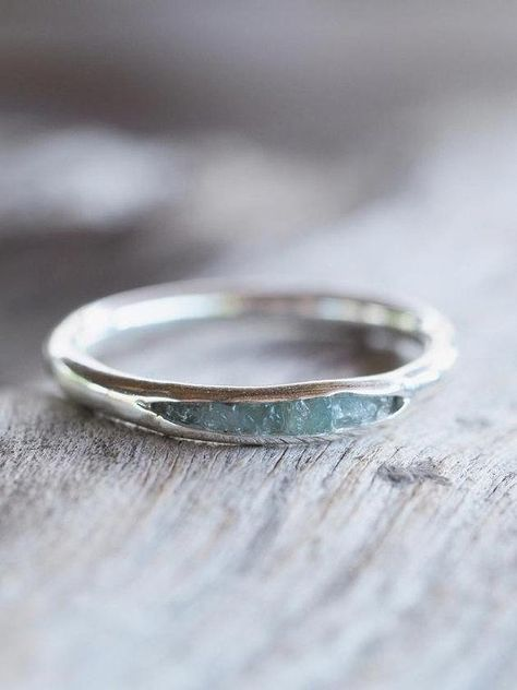 Aquamarine Ring with Hidden Gems - Gardens of the Sun Jewelry Aquamarine is the March birthstone and the sailor's talisman back in the mermaid days – it's a totem for a safe journey. jewelry rings Aquamarine Ring with Hidden Gems