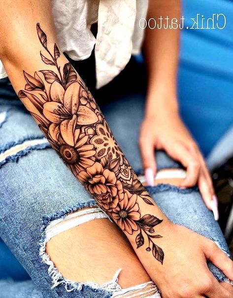 Flower Half Sleeve Tattoos For Women Floral Sleeve Flower Tattoos For Women flower half sleeve tat