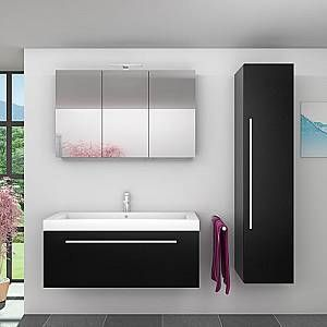Acquavapore Badmobel Set City 100 V4 Esche Schwarz Badezimmermobel Waschtisch In 2020 Lighted Bathroom Mirror Bathroom Mirror Bathroom