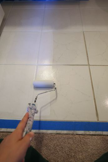 How To Paint Tile Floor In A Bathroom Painting Bathroom Tiles Painted Bathroom Floors Painting Tile