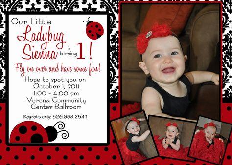 Ladybug Damask - A Customizable Birthday Invitation. $15.00, via Etsy.  Like the wording