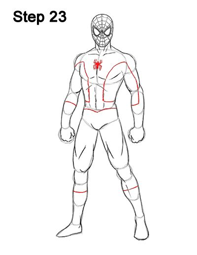 How To Draw Spider Man Full Body Spiderman Man Sketch Body Template