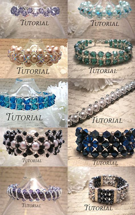 DIY 12 Bracelet Tutorial Bundle: Right Angle Weave Beaded Right Angle Weave Bracelet Tutorials (I like the second to last best)Looking for your next project? You're going to love 10 Right Angle Weave Bracelet Tutorials by designer NiteDre Jewelry Patterns, Beading Patterns, Beaded Bracelet Patterns, Do It Yourself Jewelry, Right Angle Weave, Jewelry Making Tutorials, Beading Tutorials, Jewellery Making, Make Jewelry