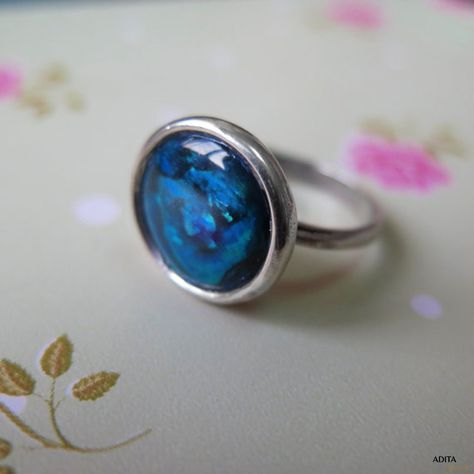 Blue Shell Ring, Silver Ring, Statement Ring, Vintage Ring, Vintage Jewelry, Gemstone Ring, Blue Ring, Gemstone Jewelry, Boho Ring
