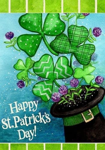 Clovers And Top Hat Flag Quality Decorative Flags Garden Flags House Flags Holiday St Patricks Day Cards St Patrick S Day Decorations Happy St Patricks Day
