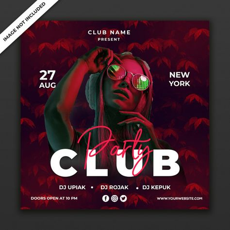 Party Club Event Poster Template, Square Size