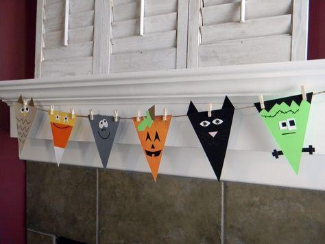 Adorable Halloween banner kids can make.
