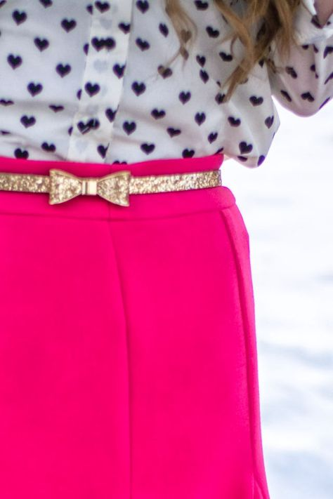 bow sequin belt, pink skirt, heart blouse