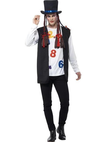 Mens Freddy Mercury Costume Adults Queen Fancy Dress 80s Pop Star 1980s Outfit